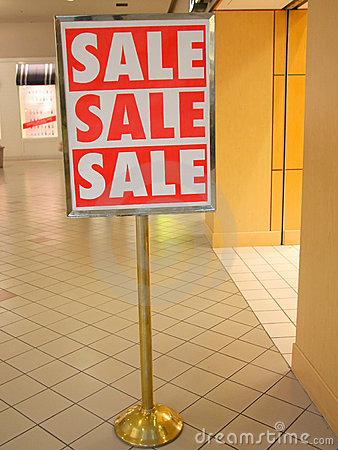 A big SALE sign on the entrance