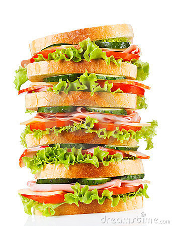 Free Big Sandwich With Bacon And Vegetables Royalty Free Stock Photos - 23486538