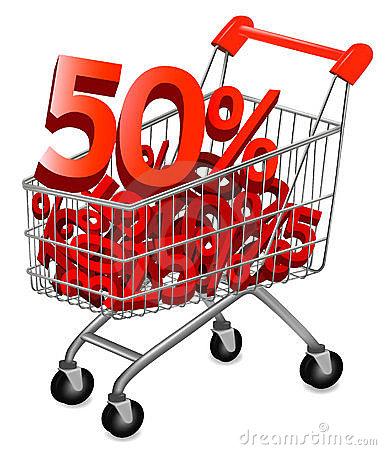 Big save in a shopping cart . Concept of discount.
