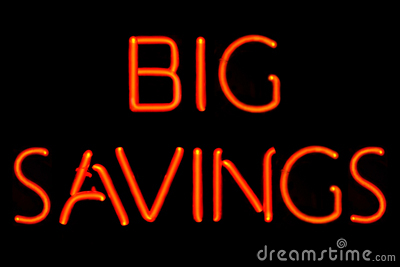 Big Savings neon sign