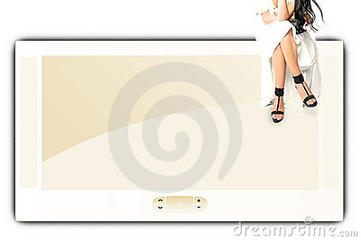 Big screen and girl
