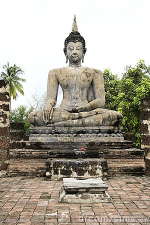 Big seated buddha statue sukhothai thailand
