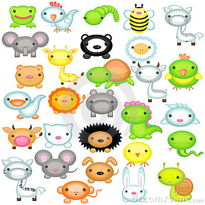 Big set of baby animals