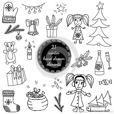 Big set black line winter elements with girl, Christmas tree Vector Illustration