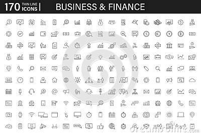 Big set of 170 Business and Finance web icons in line style. Money, bank, contact, infographic. Icon collection. Vector Cartoon Illustration