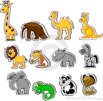 Big set of cartoon animals,vector