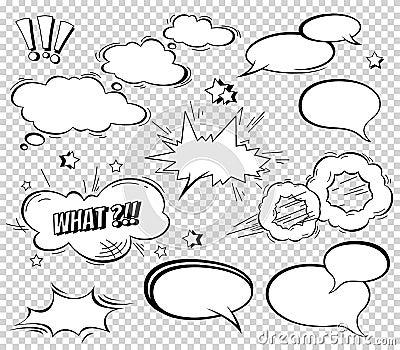 Big Set of Cartoon, Comic Speech Bubbles, Empty Dialog Clouds in Pop Art Style. Vector Illustration for Comics Book Vector Illustration