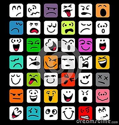 Big set of cartoon facial expressions