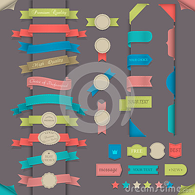 Free Big Set Design Elements In Retro Style Stock Photo - 25343310