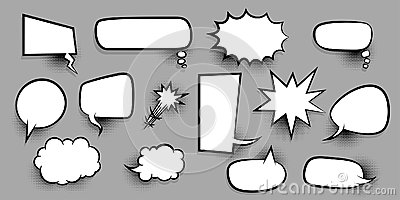 Big set empty speech bubble comic text Vector Illustration