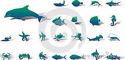 Big set icons - 20A. Fish