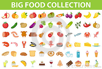 Big set icons food, flat style. Fruits, vegetables, meat, fish, bread, milk, sweets. Meal icon on white Vector Illustration