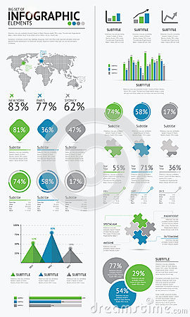 Big set of infographic business elements blue and