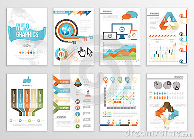 Big Set of Infographics Elements Business Illustrations, Flyer, Presentation. Modern Info Graphics and Social Media Marketing. Vector Illustration