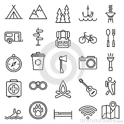 Free Big Set Linear Icon Camping And Tourism Royalty Free Stock Photography - 52304787