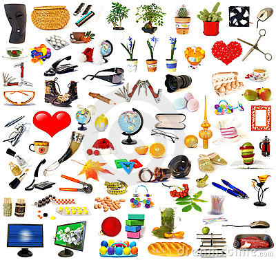 Big set of objects on white