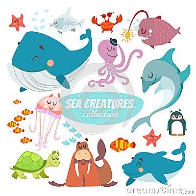 Free Big Set Of Cartoon Sea Creatures Stock Photos - 61526803