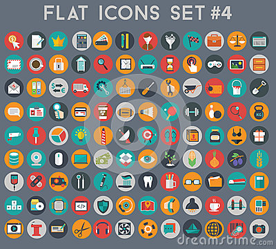 Free Big Set Of Flat Vector Icons With Modern Colors Stock Image - 47899171