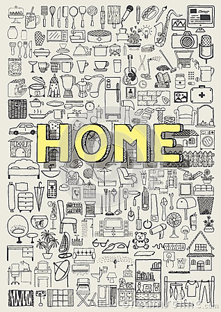 Free Big Set Of Hand Drawn Home Appliance Icons. Home Doodles. Stock Photography - 57394792