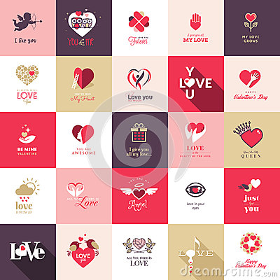 Free Big Set Of Icons For Valentines Day Stock Photography - 36546812