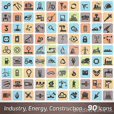 Free Big Set Of Industry, Engineering And Construction Icons Royalty Free Stock Image - 53009536