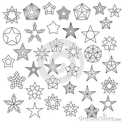 Free Big Set Of Line Star Icons Royalty Free Stock Photo - 64654535