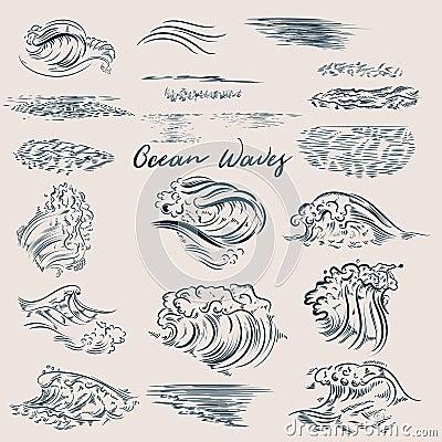 Free Big Set Of Ocean Drawn Waves Stock Images - 109049034