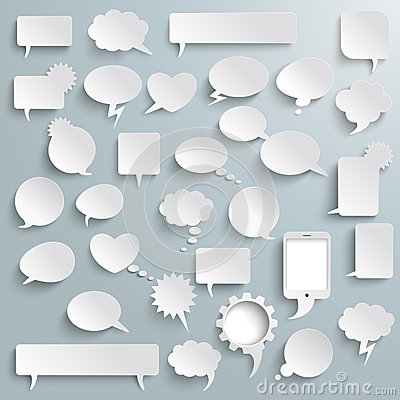 Free Big Set Paper Communication Bubbles Shadows Royalty Free Stock Image - 47624006