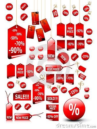 Big set of price tags