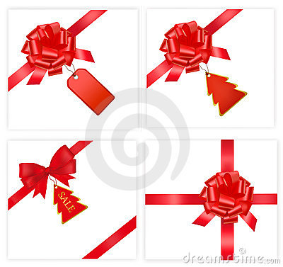 Big set with red bows with cards. Vector.