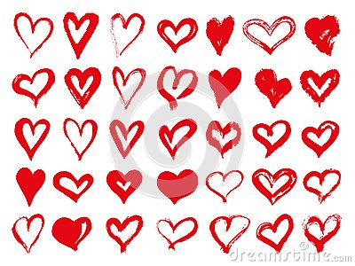 Big set of red grunge hearts. Design elements for Valentines day. Vector illustration heart shapes. Isolated on white Vector Illustration