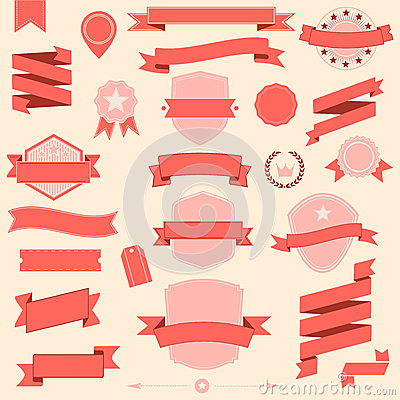 Big set retro design ribbons and badge Vector design elements Vector Illustration