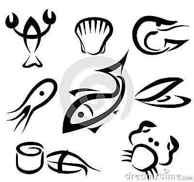 Big set of sea food symbols