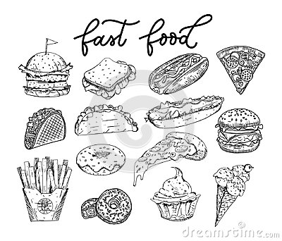 Big set of sketched fastfood elements. Burgers, tacos, pizza slices, donuts, french fries, cupcake, hot-dogs, ice-cream. Hand Vector Illustration