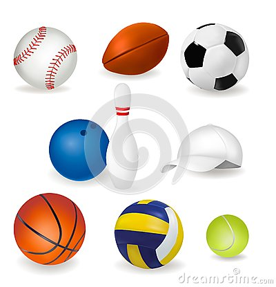 Big set of sport balls and tennis cap. Vector