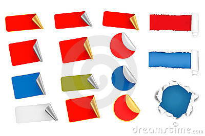 Big set of tags, labels and ripped papers. Vector Illustration