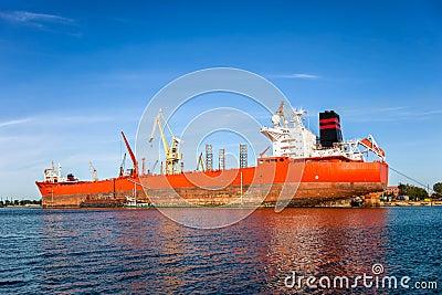 Big ship in a shipyard
