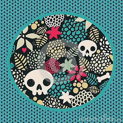 Big skulls and flowers background.