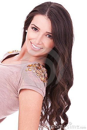 Big smile and long beautiful hair