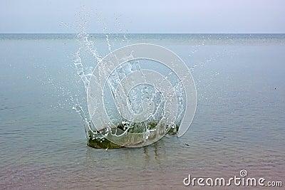 Big splash on a sea water