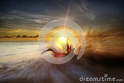Big splash and sunrise