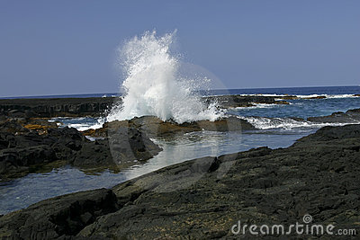 Big Splashing wave on the Big Island of Hawaii