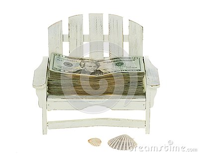 Big Stack of Twenty Dollar Bills in a Chair