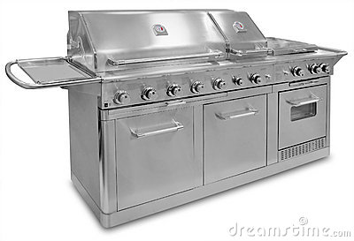 Big stainless steel barbecue, isolated
