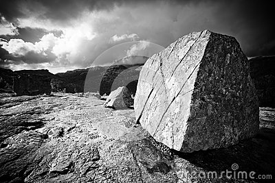 Big stone on mountain top