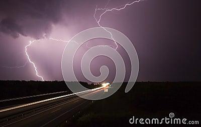 Big storm wiht highway