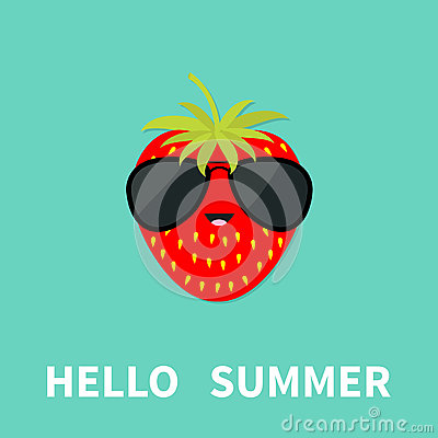 Big Strawberry Berry Fruit With Leaf Wearing Sunglasses. Cute Cartoon Smiling...