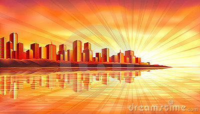 Big sunset city over water