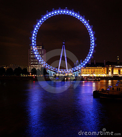 Big touristic wheel shining in the night Editorial Stock Photo