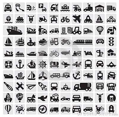 Free Big Transportation Icons Royalty Free Stock Photography - 26870087